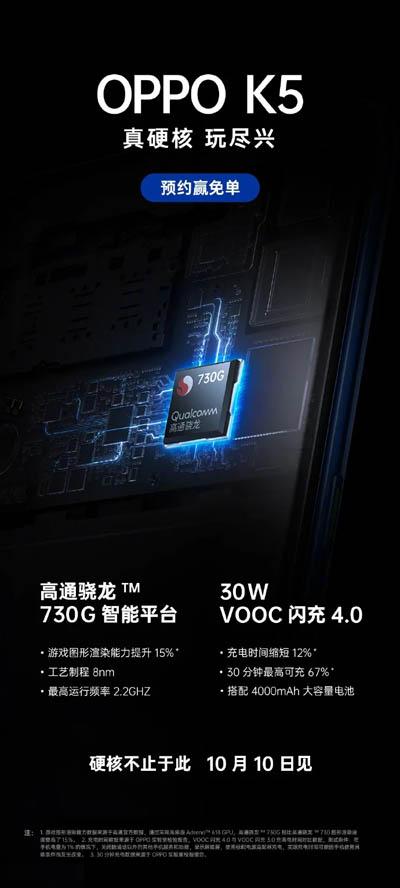 Смартфон Oppo K5 получит игровой чип Snapdragon 730G