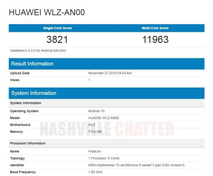 Смартфон Huawei nova 6 5G засветился в бенчмарке Geekbench